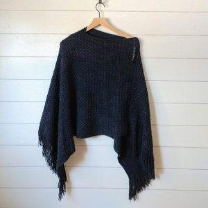 C-Mode Navy Blue Poncho Sweater NWT